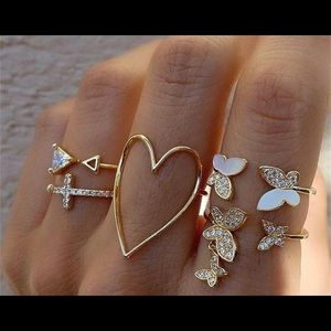Heart and Butterfly midi Knuckles Rings Set